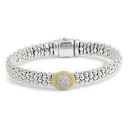 Diamond and Caviar Oval Station Bracelet   Nordstrom