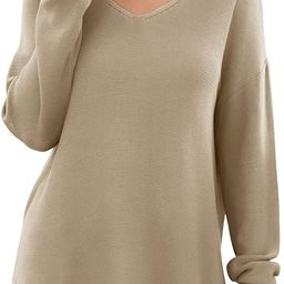 GRECERELLE Women's V-Neck Long Sleeve Side Split Loose Casual Knit Pullover Sweater Blouse | Amazon (US)
