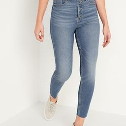 Extra High-Waisted Button-Fly Rockstar 360° Stretch Super Skinny Cut-Off Ankle Jeans for Women | Old Navy (US)