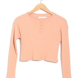 Ribbed Long Sleeve Top w/ Henley Buttons | Nordstrom Rack