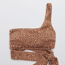 Aerie Ribbed Leopard One Shoulder Wrap Bikini Top | American Eagle Outfitters (US & CA)