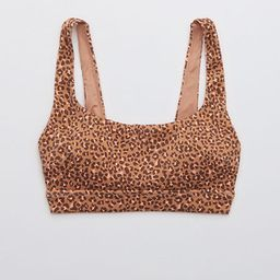Aerie Ribbed Leopard Wide Strap Scoop Bikini Top | American Eagle Outfitters (US & CA)