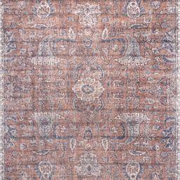 "Rust Printed Floral Flatweave 5' 3"" x 7' 7"" Area Rug | Rugs USA"