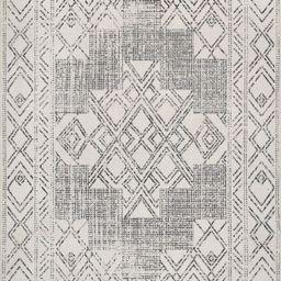 Light Gray Ethnic Medallion Washable 5' x 8' Area Rug | Rugs USA