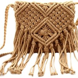 Van Caro Women's Cotton Crochet Tassel Shoulder Purse Bohemian Messenger Bag   Amazon (US)