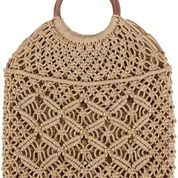 Ayliss Handmade Straw Bag Travel Beach Fishing Net Handbag Shopping Woven Shoulder Bag for Women   Amazon (US)