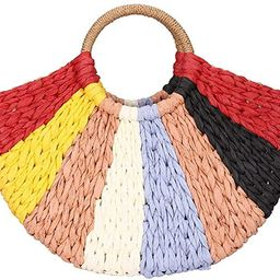 Women Straw Bag,Colorful Hand-woven Rattan Tote Clutch Handle Bag Retro Summer Beach Tote Bags Wi...   Amazon (US)