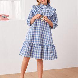 NEWSHEIN Girls Gingham Ruffle Hem Smock Dress | SHEIN