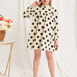 NEWSHEIN Girls Mock Neck Polka Dot Print Dress | SHEIN