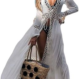 Women Sexy Lace Crochet Open Front Swimsuit Beach Long Kimono Cover Ups | Amazon (US)