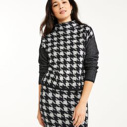 Striped Sleeve Houndstooth Jacquard Sweater | Ann Taylor (US)