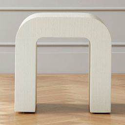 Horseshoe Ivory Lacquered Linen Side Table + Reviews | CB2 | CB2