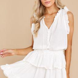 Lovely Whisper White Romper Dress | Red Dress