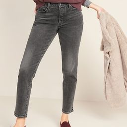 High-Waisted O.G. Straight Ankle Gray Button-Fly Jeans for Women   Old Navy (US)