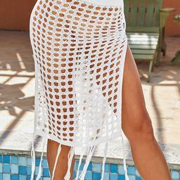 Fringe Hem Crochet Cover Up Skirt Without Panty   SHEIN