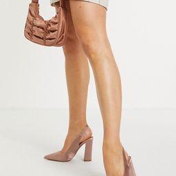 ASOS DESIGN Parson slingback high block heels in mauve | ASOS (Global)