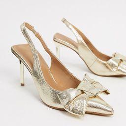 ASOS DESIGN Soul bow slingback mid heels in gold | ASOS (Global)