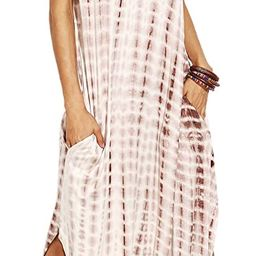 MakeMeChic Women's Boho Casual Maxi Short Sleeve Split Tie Dye Long Dress with Pockets   Amazon (US)