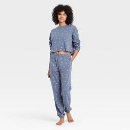 Women's Floral Print Fleece Lounge Jogger Pants - Colsie™ Blue | Target