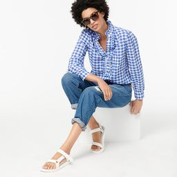 Classic-fit ruffle popover in crinkle gingham | J.Crew US