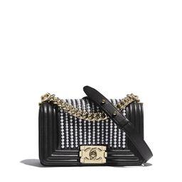 Calfskin, Imitation Pearls & Gold-Tone Metal | Chanel, Inc.