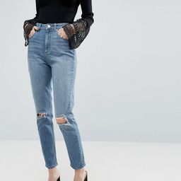 ASOS DESIGN Farleigh high waist slim mom jeans in light stone wash with busted knees-Blue | ASOS (Global)