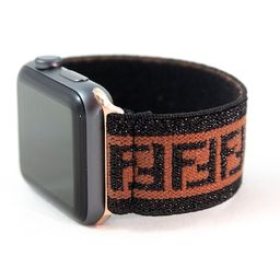 Elastic Apple Watch Band - Sparkly Black Brown F Pattern - 38mm 42mm 40mm 44mm; All Series 1-6 & ...   Etsy (US)