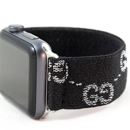 Elastic Apple Watch Band - Sparkly Black Silver GG Pattern - 38mm 42mm 40mm 44mm; All Series 1-6 ...   Etsy (US)