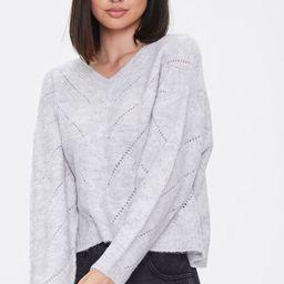 Pointelle Knit V-Neck Sweater | Forever 21 (US)