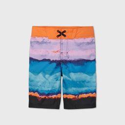 Boys' Tie-Dye Colorblock Classic Board Swim Trunks - art class™ Orange | Target