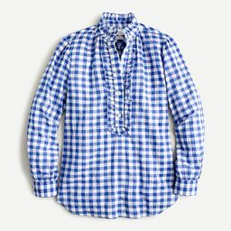 Classic-fit ruffle popover in crinkle gingham   J.Crew US