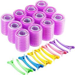 Self Grip Hair Rollers Set, Self Holding Rollers and Multicolor Plastic Duck Teeth Bows Hair Clip... | Amazon (US)