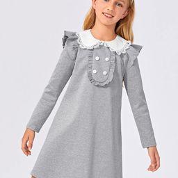 SHEIN Girls Contrast Guipure Lace Trim Peter-pan-collar Ruffle Dress | SHEIN