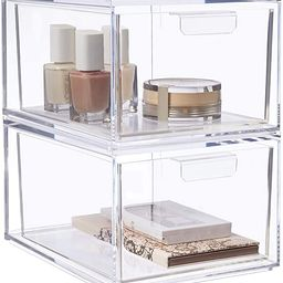 """STORi Audrey Stackable Cosmetic Organizer Drawers 4-1/2"""" Tall   set of 2 Clear   Amazon (US)"""