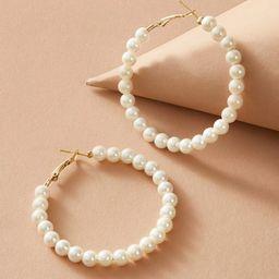 1pair Faux Pearl Beaded Hoop Earrings | SHEIN