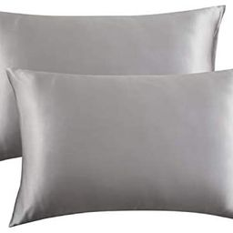 Bedsure Two-Pack Satin Pillowcases Set for Hair Cool and Easy to WASH King 20x40 Silver Grey with... | Amazon (CA)