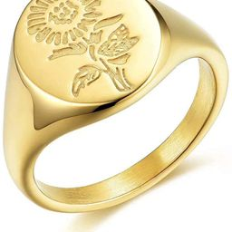 BAOWING 18K Gold Sunflower Rings   Chunky Dome Signet Ring   Stainless Steel Minimalistic Stateme...   Amazon (US)