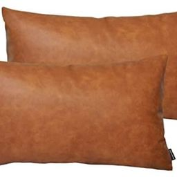 HOMFINER Faux Leather Lumbar Throw Pillow Covers for Couch Bed Sofa Decorative, 12x20 Set of 2 Th...   Amazon (US)