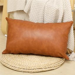 DecorX Faux Leather Lumbar Pillow Cover 12x20 inch, Modern Country Style Decorative Lumbar Pillow...   Walmart (US)