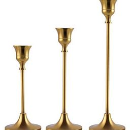 Candlestick Holders Taper Candle Holders, Brass Gold Candlestick Holder Set3 Pcs Candle Stick H...   Amazon (US)