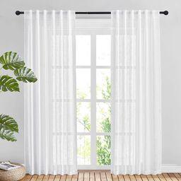 NICETOWN Linen Textured Voile Panels - Rod Pocket & Back Tab Design Translucent Sheer Drapes for ... | Amazon (CA)
