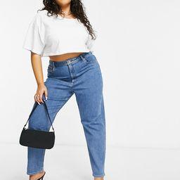 ASOS DESIGN Curve high rise farleigh 'slim' mom jeans in midwash   ASOS (Global)