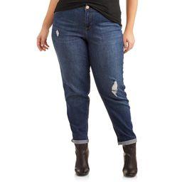 A3 Denim Women's Plus Size Roll Cuff Jean With Destruction   Walmart (US)