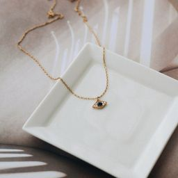 Gold Evil Eye necklace  24k Gold Vermeil  Minimalist   Etsy   Etsy (US)