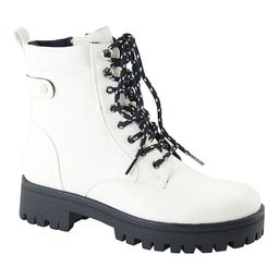Bella Marie Women's Casual boots WHITE - White Rider Combat Boot - Women | Zulily