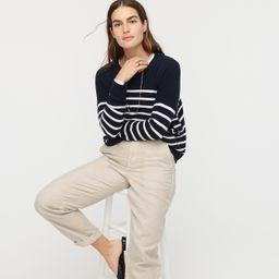 Cashmere crewneck boyfriend sweater in stripe   J.Crew US