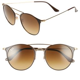 Ray-Ban Highstreet 52mm Round Brow Bar Sunglasses - Brown/ Gold | Nordstrom
