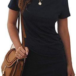BTFBM Women's 2021 Casual Crew Neck Short Sleeve Ruched Stretchy Bodycon T Shirt Short Mini Dress | Amazon (US)