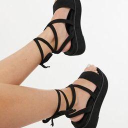 ASOS DESIGN Wide Fit Tessa tie leg flatform sandals in black | ASOS (Global)