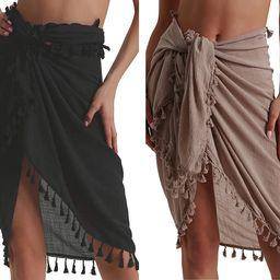 Beach Sarong Pareo Womens Semi-Sheer Swimwear Cover Ups Short Skirt with Tassels | Amazon (US)